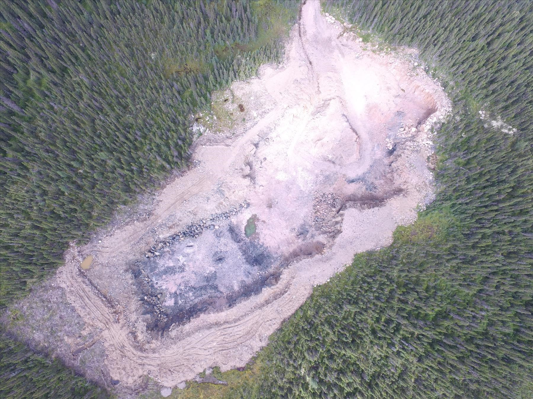 Aerial photo taken at the Lynx Lake Copper Cobalt Property showing the west pit anomaly